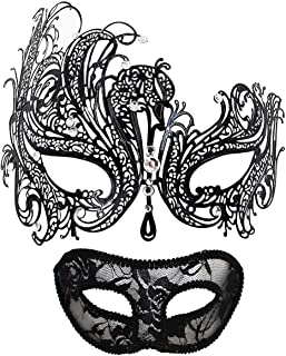 Masquerade Mask for Couples Women Metal Rhinestone Venetian Pretty Party Evening Prom Ball Mask Luxury Metal Mask with Free Lace Mask 2 Pack (Queen)