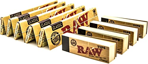 RAW [ 5 Packs Classic King Size Papers with [4 Booklets] Rolling Tips