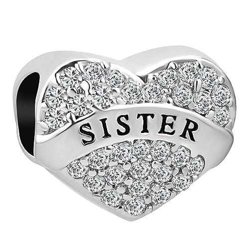 732e252bf Korliya I Love You Sister Mum Mom Heart Charm With White Crystal Bead For  Bracelet