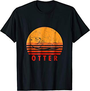 Vintage Otter Shirt Retro Sea River Otters Lutra Animal Gift