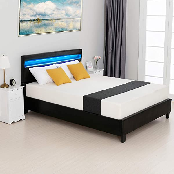 LAGRIMA Modern Upholstered Faux Leather Platform Bed With LED Light Headboard With 2 8 Inch Solid Wooden Slat Support Black Queen Size