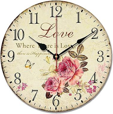 S.W.H Retro shabby chic Décor Amour Rose Horloge murale Chambre à coucher Décor de cuisine Horloge ronde 25,4 cm