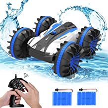 allcaca Waterproof Remote Control Car Boat - 2.4Ghz All Terrain RC Cars - 1/18 Scale Double Sides Stunt Vehicle with 360 D...