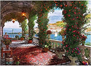 1000 Pieces Garden Jigsaw Puzzle, European Style Flower Floral at Balcony Rose Corridor Pattern Puzzles for Teens Adults F...