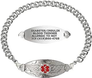 Custom Engraved Medical Alert Bracelets for Women, Stainless Steel Medical Bracelet, Medical ID Bracelet w/Free Engraving – Angel Wing Tag w/Knot Links – Color/Size