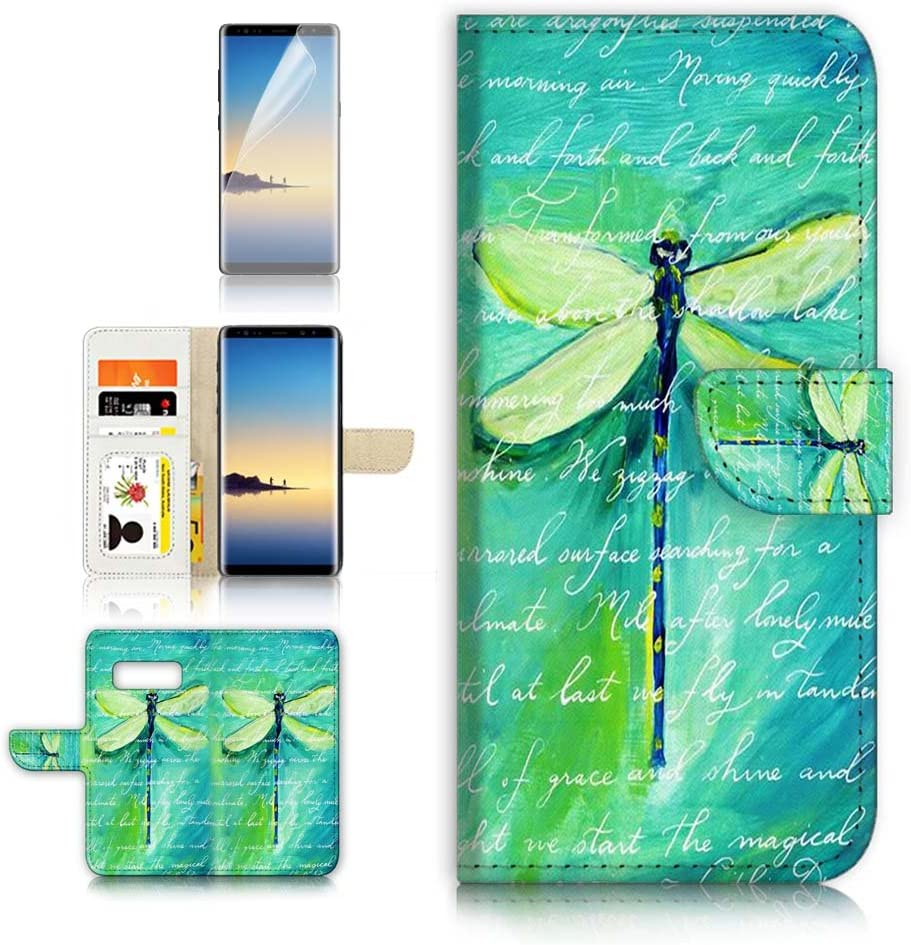 ( For Samsung Note 8 , Galaxy Note 8 ) Flip Wallet Case Cover & Screen Protector Bundle! A4215 Dragonfly