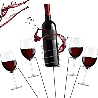 Zatiki picnic Wine Stakes Set - Outdoor Drink Wine Bottle Holder and 4 Wine Glass Holder 5 Piece Set Best Wine Stakes for Wine Lovers