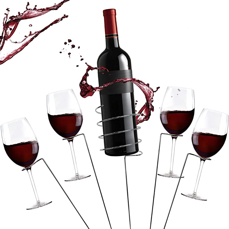 Zatiki Picnic Wine Stakes Set Outdoor Drink Wine Bottle Holder And 4 Wine Glass Holder 5 Piece Set Best Wine Stakes For Wine Lovers