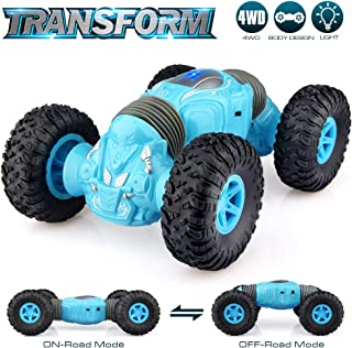 Growsland Remote Control Car Kids Toys Xmas Gifts for Boys and Girls, Rechargable Off Road Vehicle 2.4 GHz Rock Crawler RC Stunt Hobby Car 4WD Dual Motors Buggy Racing Car