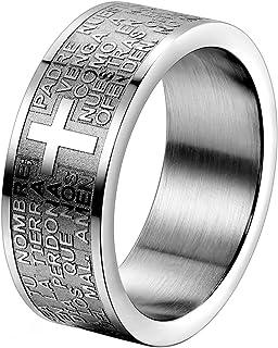 JewelryWe Gioielli Anello da Uomo Donna Croce Preghiera Cristiana Acciaio Inossidabile Anelli Fantasia per Uomo e Donna Co...