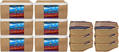 Kuber Industries Non Woven 6 Pieces Saree Cover/Cloth Wardrobe Organizer and 6 Pieces Blouse Cover Combo Set (Brown)