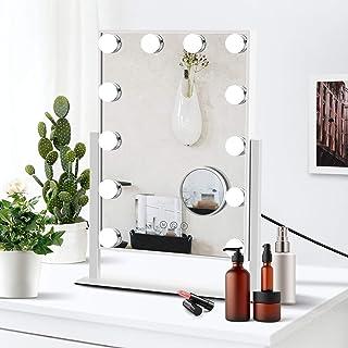 Miroir Maquillage Illuminé Hollywood,Miroir de Maquillage avec Lumières,avec 12 Lampes Dimmables et Connexion de Chargemen...