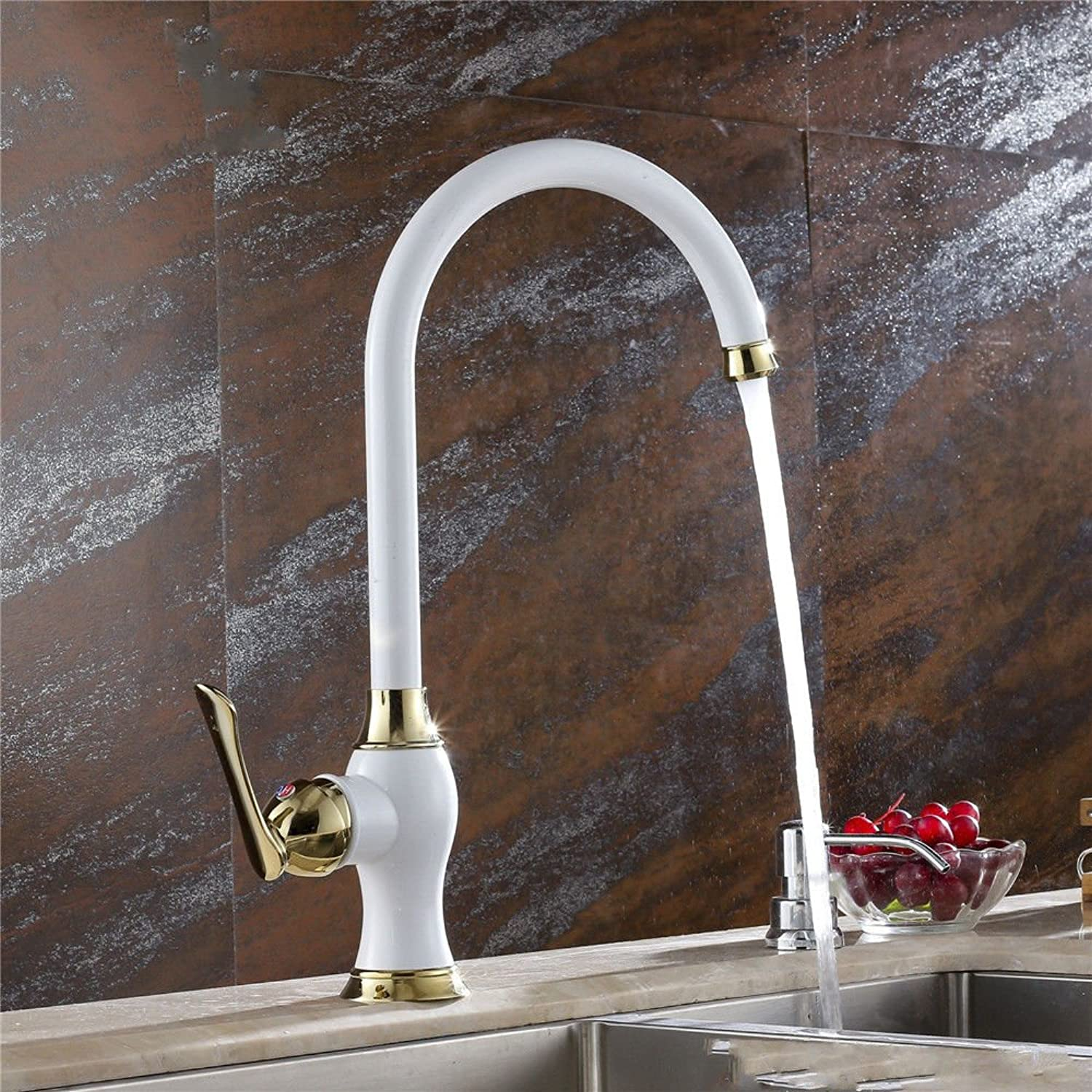 AQMMi Bathroom Sink Faucet Basin Mixer Tap White 360° Hot and Cold Water Valve Brass Modern Basin Sink Tap Bathroom Bar Faucet