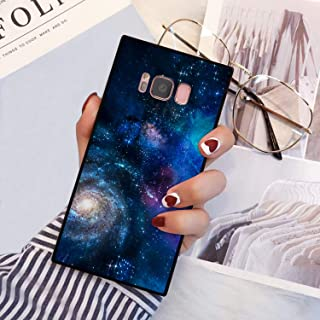 Blue Starry Sky Galaxy Space Square Phone Case Cover for Samsung Galaxy S8 TPU Wrapped Edges and Hard PC Back 360 Degree Full Body Protection
