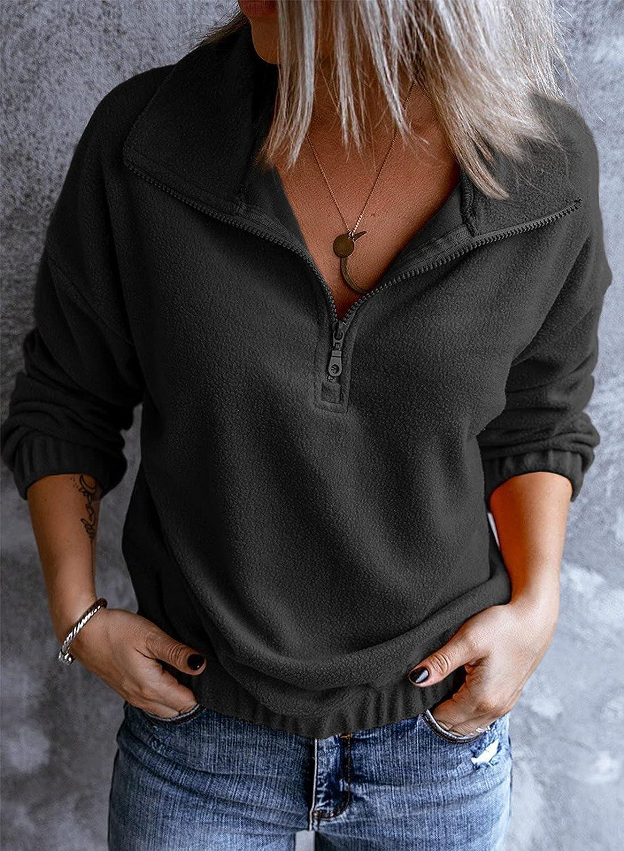 Astylish Women Casual Long Sleeve 1/4 Zipper Sherpa Sweatshirt