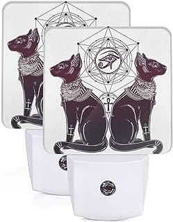 Intage Hand Drawn Cat Figure Sacred Geometry Shapes Tattoo Art Auto Sensor LED Dusk to Dawn Night Light Set of 2 White