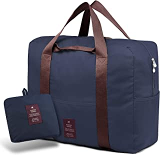 Foldable Duffel Bag, Packable Lightweight Travel Bag Luggage Storage Bags for Suitcase (Navy)