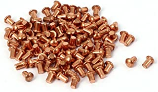 200 Pieces 1//8 inches x 13//64 inches Copper Round Head Solid Rivets Knurled Stems