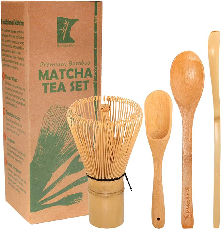 BambooMN Matcha Whisk Set Golden Chasen Tea Whisk Chashaku Hooked Bamboo Scoop Tea Spoon 1 Set