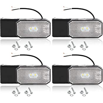 Hawkeye 4 Pcs LED Clearance Side Marker Lights White Outline Lamp for Trailer Truck Lorry Caravan White, rectangle