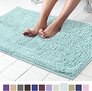ITSOFT Non Slip Shaggy Chenille Soft Microfibers Bath Mat for Bathroom Rug Water Absorbent Carpet, Machine Washable, 21 x 34 Inches Spa Blue