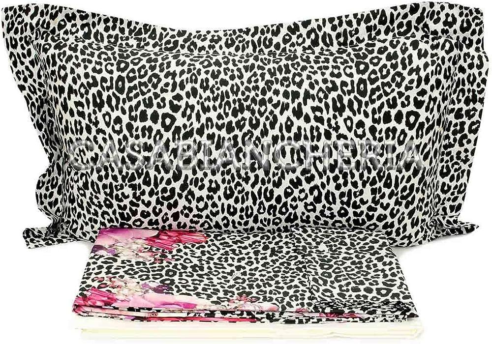 Roberto cavalli completo copripiumino matrimoniale, bouquet leopard pink, in raso satin di puro cotone 100% 14108103