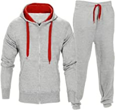 FUNIC Mens Stretchy Trousers Hooded Coat Jacket + Jogging Sports Pants Tracksuit Set