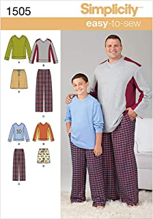 Simplicity 1505 Easy to Sew Husky Boy's and Big and Tall Men's Pajama Sewing Patterns, Child's Sizes S-L and Men's Sizes XL-XXXXXL