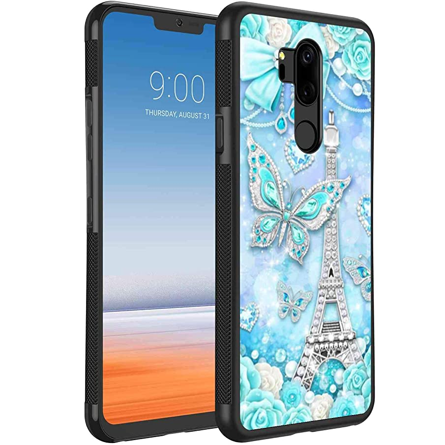 Cell Phone Case Fit for LG G7 ThinQ Crystal Blue Eiffel Tower Butterfly Bow