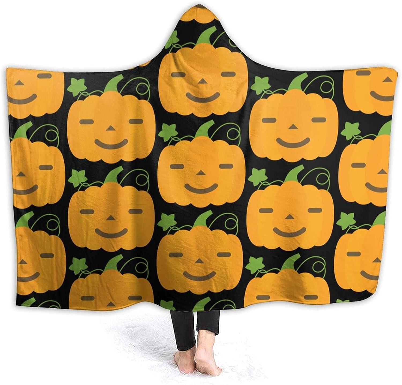 Hooded Blanket Poncho wholesale Pumpkin Emoticon Fleece Cozy Ranking TOP17 Flannel Soft