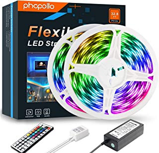 PHOPOLLO LED Strip Lights, 32.8ft RGB Color Changing 5050 600LEDs Waterproof Flexible LED Tape Light Kit with 44 Key IR Remote Controller and 12V Power Supply for Room, Bedroom and Xmas