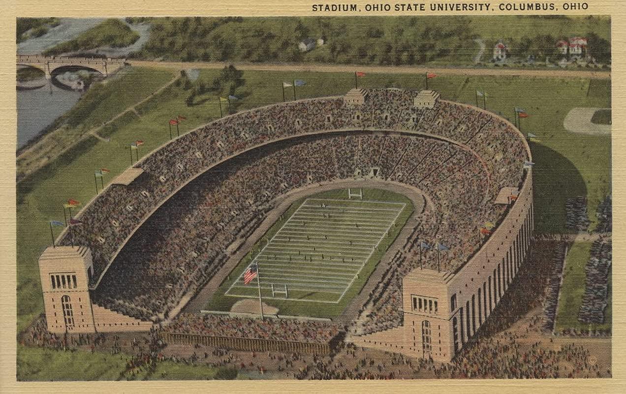 Columbus Ohio Ohio State University Stadium From Air Vintage Halftone 9x12 Art Print Wall Decor Travel Poster