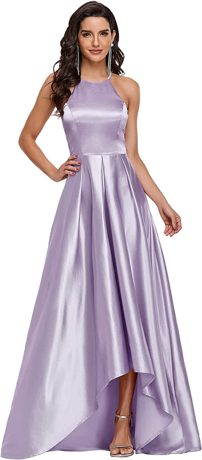 Ever-Pretty Women's Halter A-line High-Low Satin Long Prom Dress 0245
