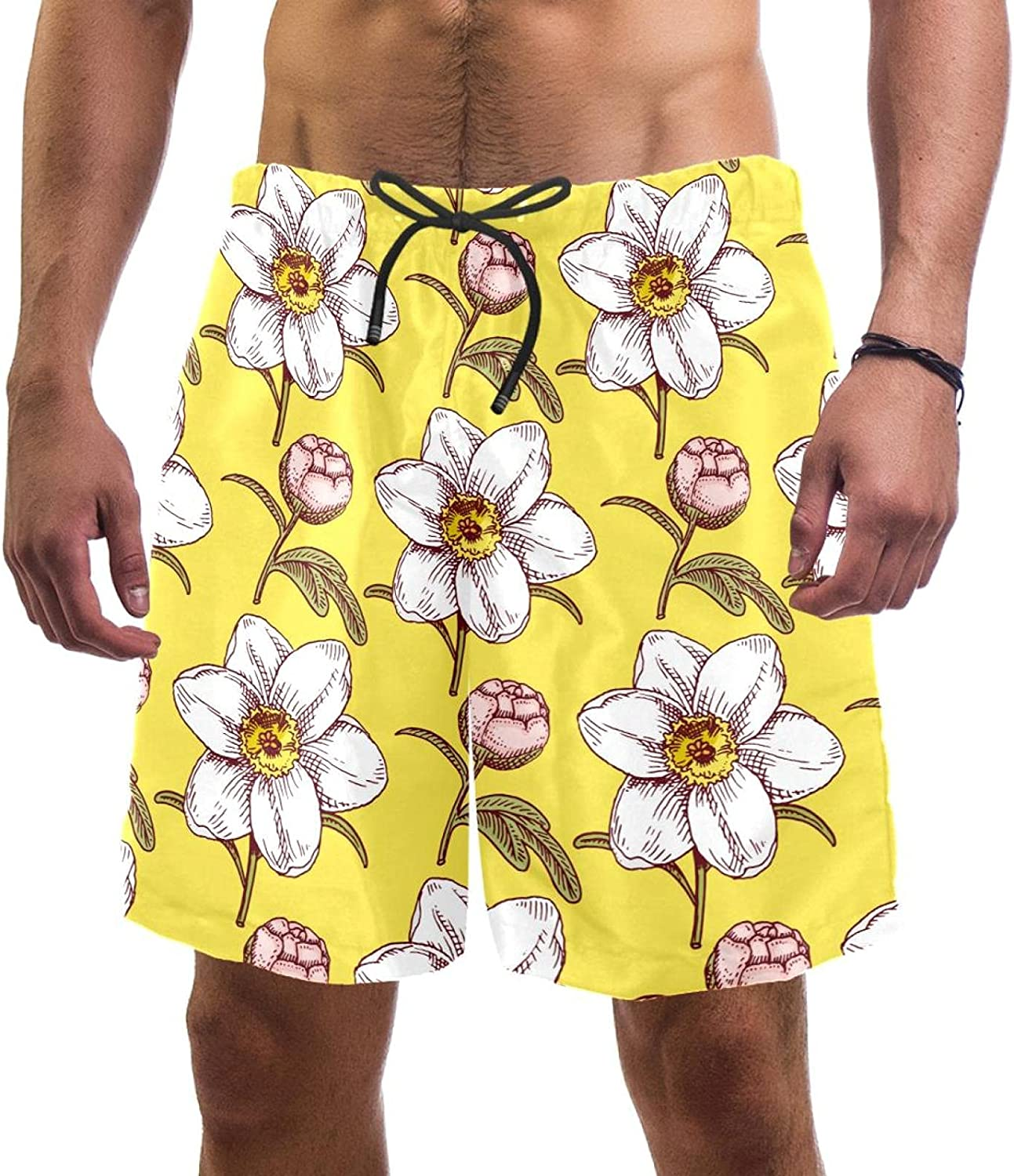 Wanlipous Men's Beach Shorts White Pink Blooming Flower Yellow Quick Dry Swim Short Trunks with Mesh Lining