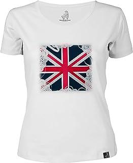 Assaf Frank: Union jack Women's Round Neck T-Shirt White