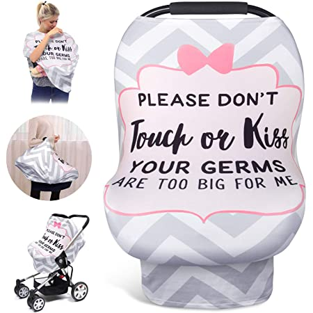 Nursing Covers Soft Breathable Stretchy Breastfeeding Scarf Shawl Stretchy Letter Baby Car Seat Covers No Touch Sign Infant Carseat Canopy Lightweight Cotton for Stroller
