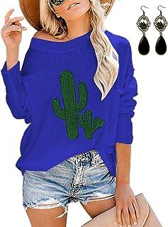 BUOYDM Tops a Manica Lunga da Donna Casuale Camicetta Magglietta Elegante Maglie Bluse Stampa a Cactus