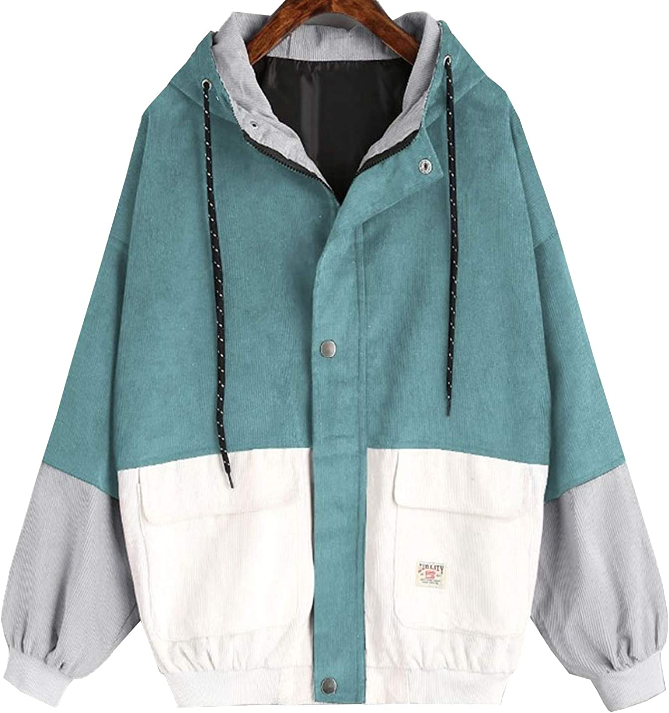 Flygo Spasm price Women's Zip Up Corduroy Free shipping New Jackets Patchwork Oversize Hoodies