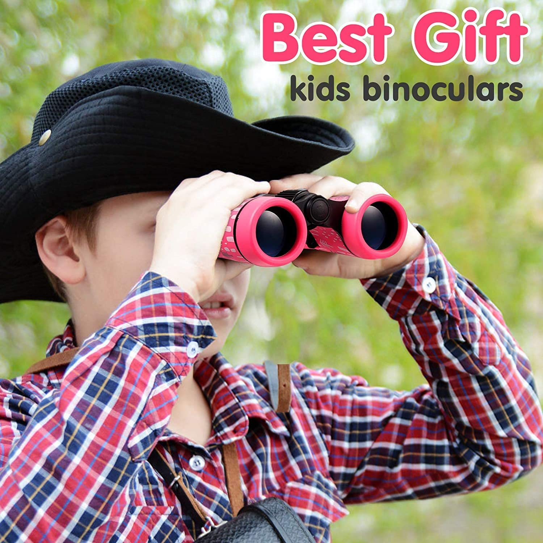 Yellow MINIJOY Binoculars for Kids Best Gifts for 3-12 Years Boys Girls High-Resolution Optics Shockproof Mini Compact Binocuolar Toys Folding Small Telescope for Bird Watching Camping Outdoor Play