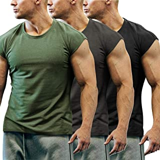 Men's 3 Pack Gym Workout T Shirt Short Sleeve Muscle Cut Bodybuilding Training Fitness Tee Tops