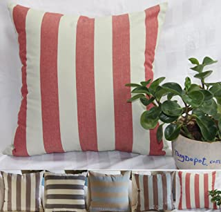 TangDepot Decorative Handmade Striped Cotton Throw Pillow Covers /Pillow Shams, 5 Color and 10 Size options, Black/Beige, Blue/Yellow, Brown/Beige, Brown/Blue, Red/Gray, 12