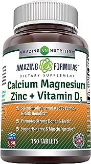 Amazing Formulas Calcium Magnesium Zinc + D3-Tablets (Non-GMO,Gluten Free) (Calcium 1000mg - Magnesium 400mg - Zinc 25mg P...