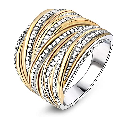 8ef239d95 Mytys 2 Tone Intertwined Crossover Statement Ring Fashion Chunky Band Rings  for Women Men Gold Silver