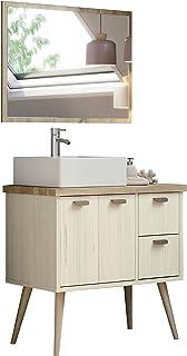 Miroytengo Mueble baño Retro con Espejo Drya Color Pino