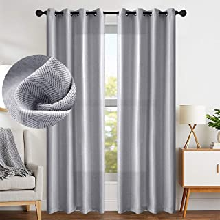 Curtains 108 Inch Grey Textured Herringbone Curtains Room Darkening Window Curtains Bedroom Living Room Kitchen 2 Panels One Set