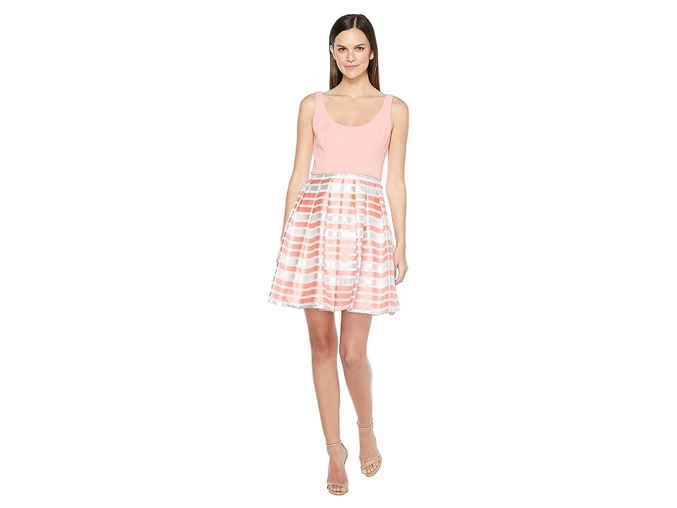 Aidan Mattox Scoop Neck Shadow Stripe Dress (Coral) Women