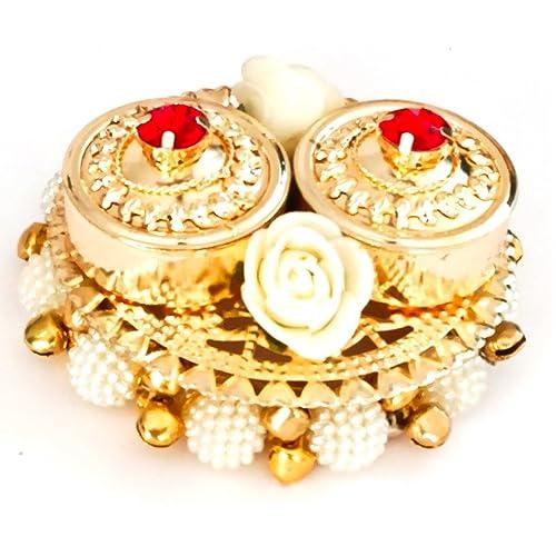 KRIWIN® Haldi Kumkum Box, Elegant, Handmade in Golden Metal, with Lids - Decorated with Flowers, Bells, Colored Crystals