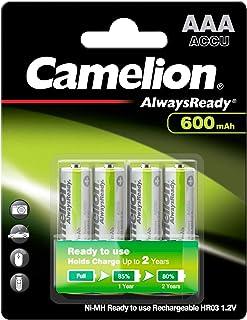Camelion 17406403 Ni MH Akku HR03/AAA/Micro, 600mAh, 4er Pack chrom