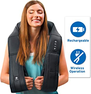 Etekcity Cordless Neck Back Shoulder Shiatsu Massager, 8 Heated Deep Kneading Massage Nodes, Gifts for Family, Relieve Muscle Hands-free with Longer Straps and Adjustable Intensity, Home Office Car