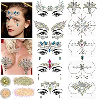 10 Sets Face Gems Glitter,Women Mermaid Bindi Temporary Stickers Rhinestone Rave Face Body Jewels festival 2 Pack Face Body Glitter